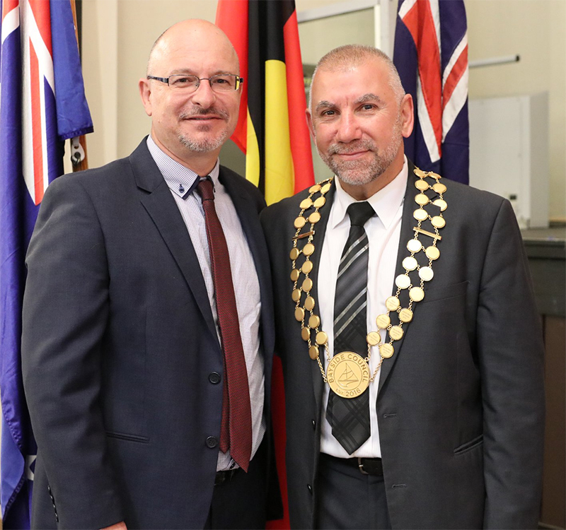 Councillor James Macdonald with Mayor Joe Awada