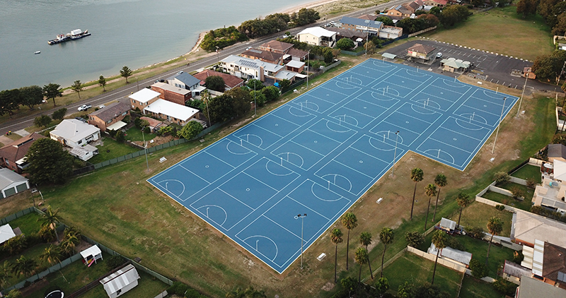 Example of previous works completed by Court Craft at Ettalong Netball Courts which is representative of works to be undertaken at the St. George Netball Courts.
